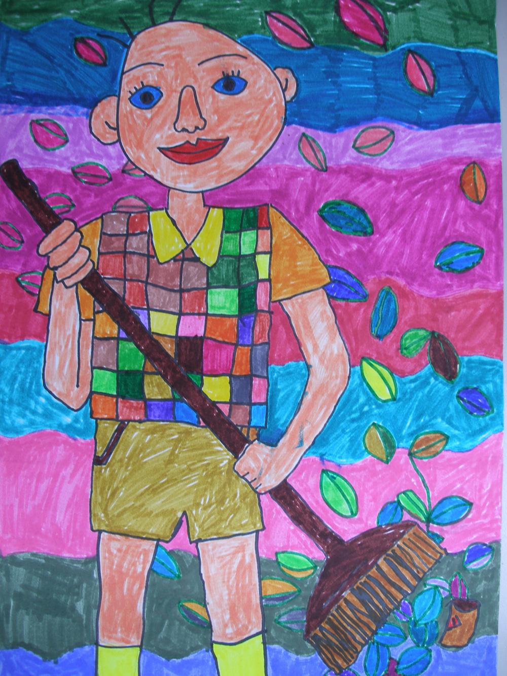 儿童手绘扫地图画
